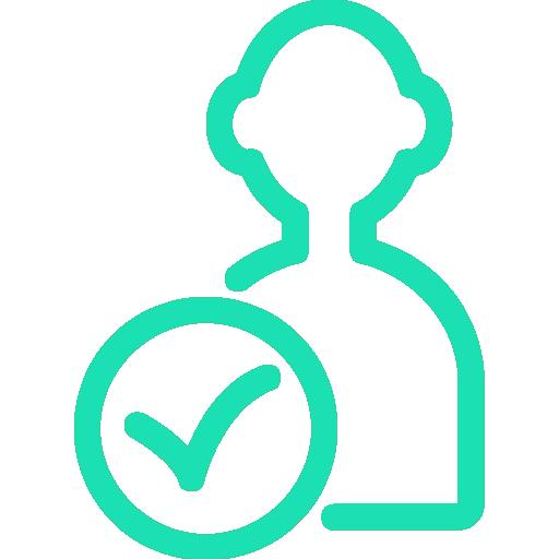 Icon mit Silhouette und Haken zur Darstellung eines konstanten Ansprechpartners