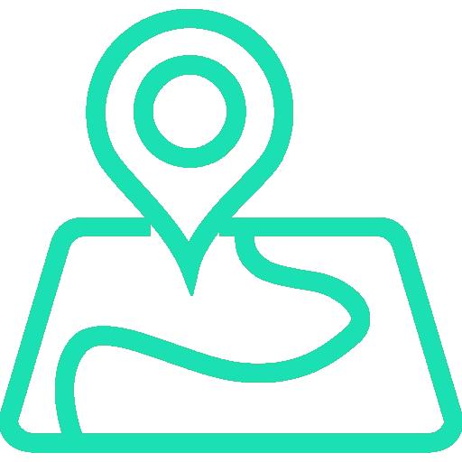 Icon von einer Karte mit Verortungs-Pin zur Darstellung von Regionalität